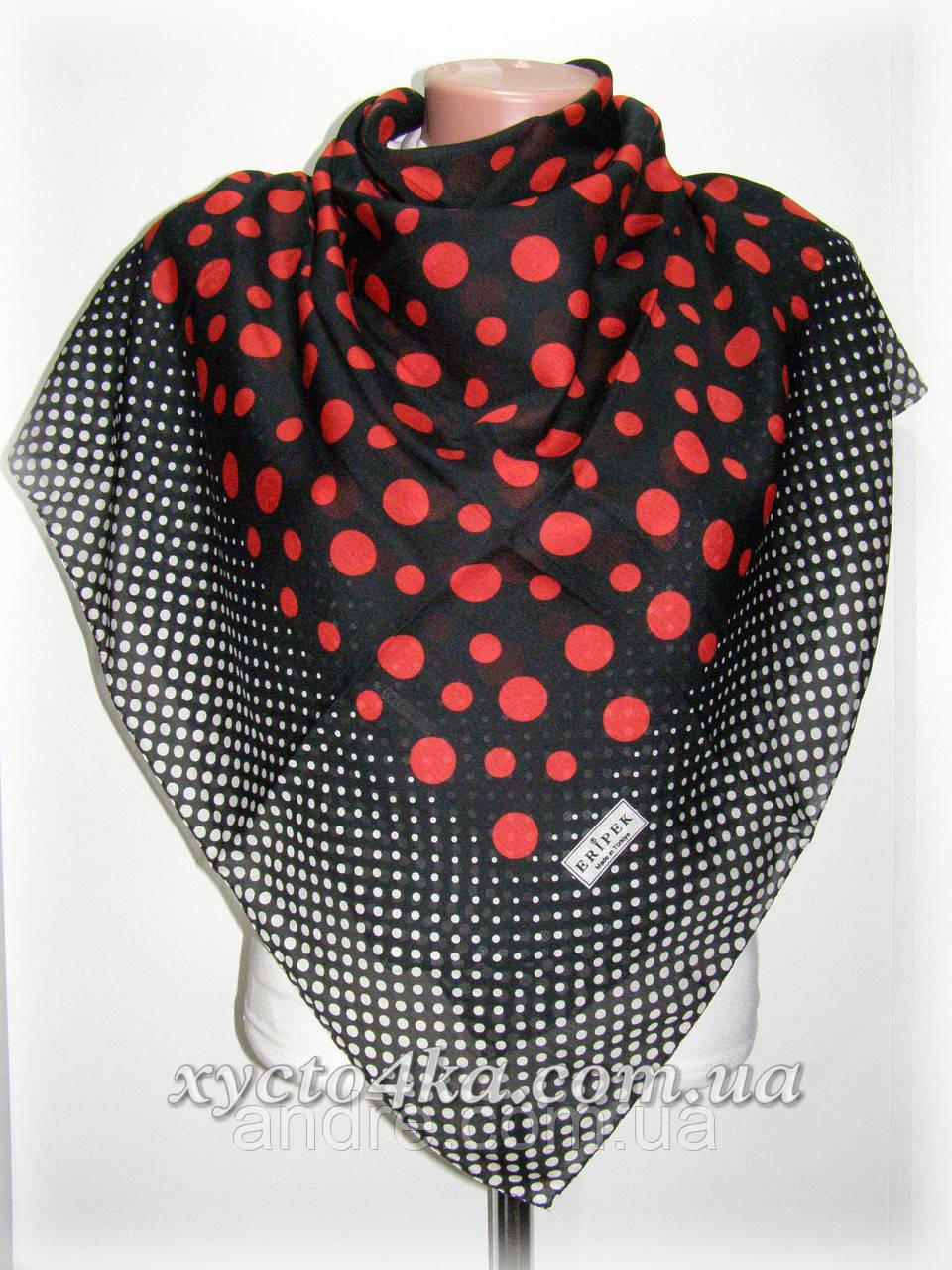 Лёгкий Турецкий натуральный платок Горошек, чёрный с красным