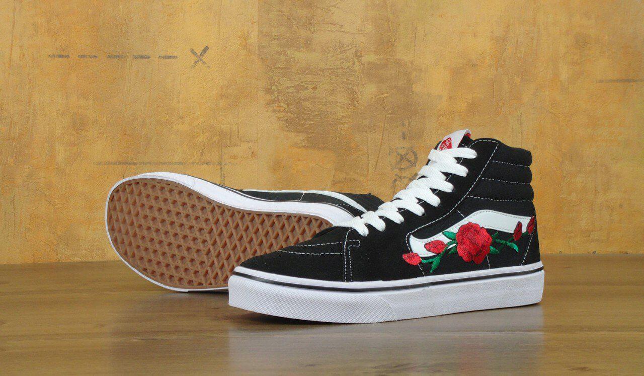 Кеды Vans SK8 Old Skool Black White Rose