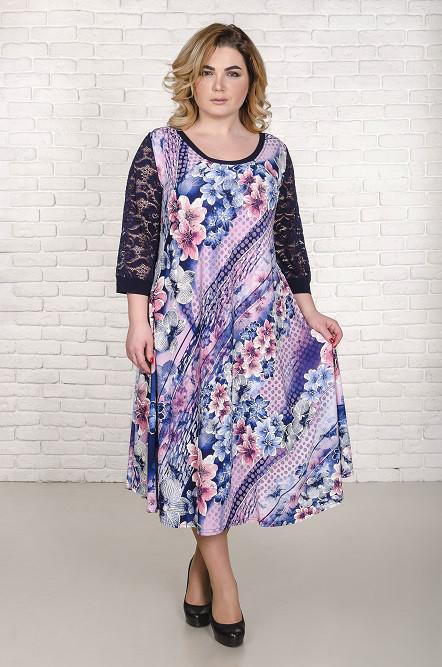 Нарядное  платье большого размера Надин лиловый лилии (60-66)