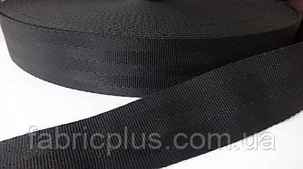 Лента ременная фирменная 3.8 см черная
