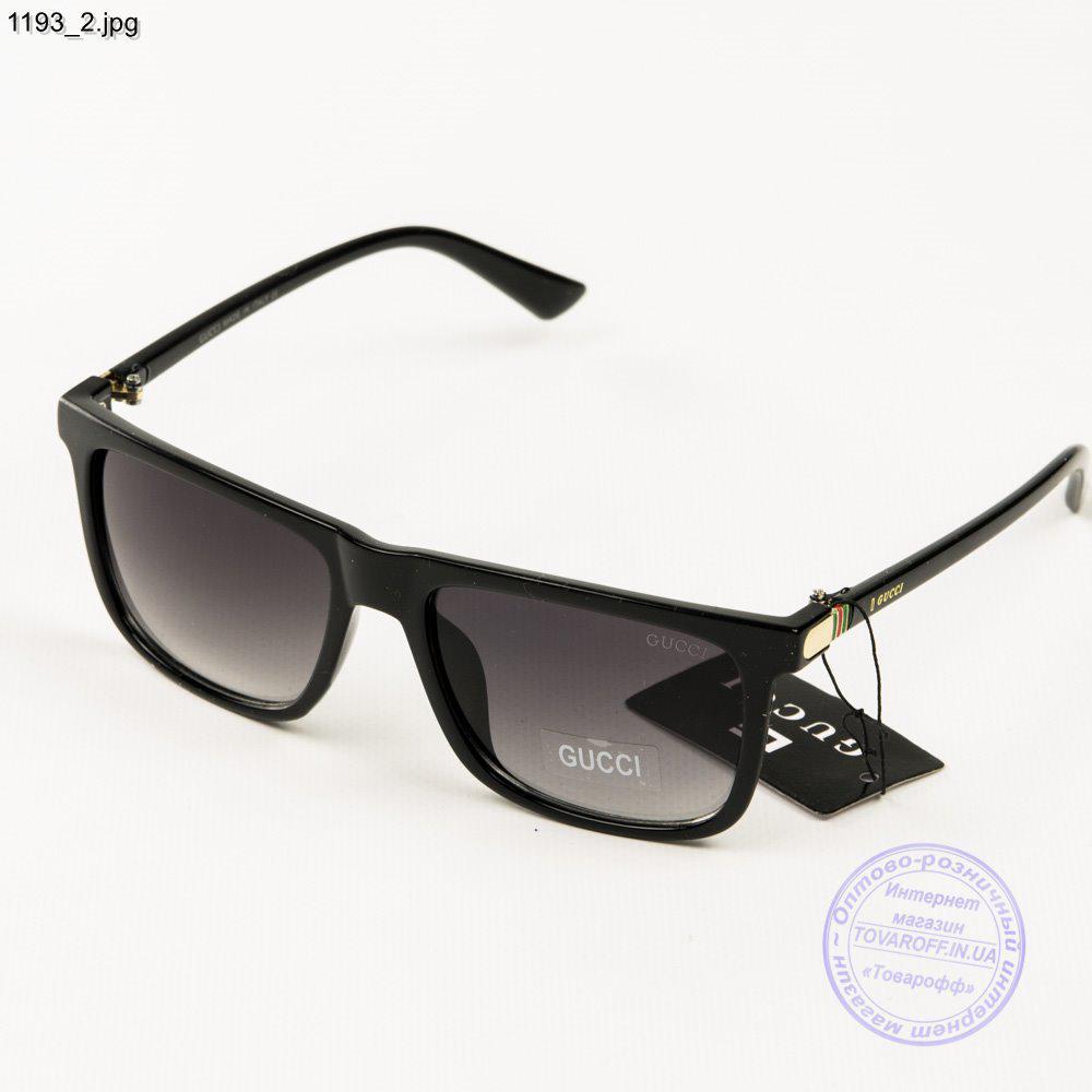 Брендовые солнцезащитные очки Gucci - Черные (реплика) - 1193