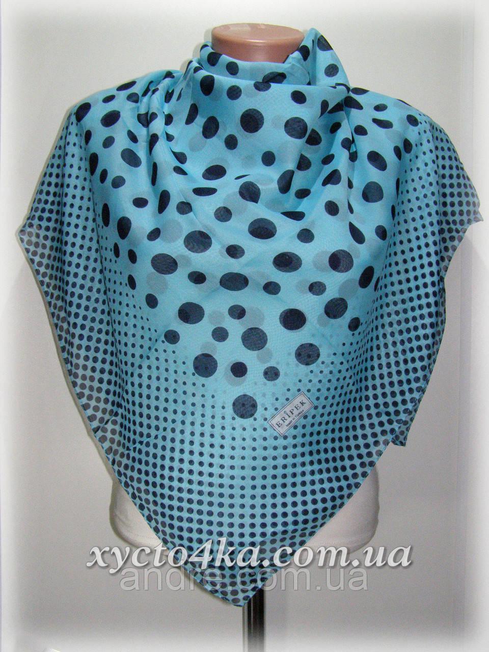 Лёгкий Турецкий натуральный платок Горошек, голубой