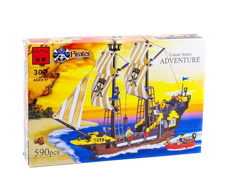 "Конструктор Brick 307 ""Пригода"" із серії ADVENTURE піратський корабель Pirates Series 590 деталей"