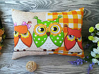 Подушка три совы (1зеленая сова) , 40 см * 28 см