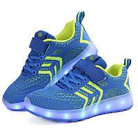 Blue kids step, Cиние светящиеся кроссовки LED (USB подзарядка), размер 26 (LK 1028)