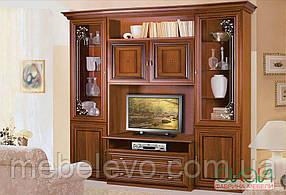 Капри витрина ТВ гостиная  2280х2320х540мм орех Караваджо + Лунгарно    Скай
