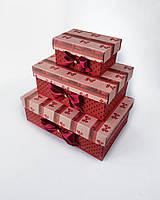 Прямоугольный подарочный комплект коробок ручной работы красного цвета с маленькими бантиками