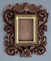 Киот для иконы резной в стиле украинского барокко с внутренней золочёной рамой., фото 1