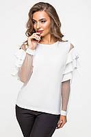 Белая блуза женская 2112, блуза деловая, жіноча сорочка