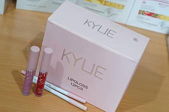 Набор матовых помад с карандашом для губ Kylie Jenner 12 шт.