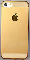 Чехол силиконовый Joyroom Clear Case 0.8 mm с заглушками для iPhone 5/5S Gold