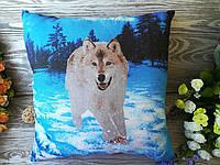 Подушка бегущий волк , 38 см * 38 см