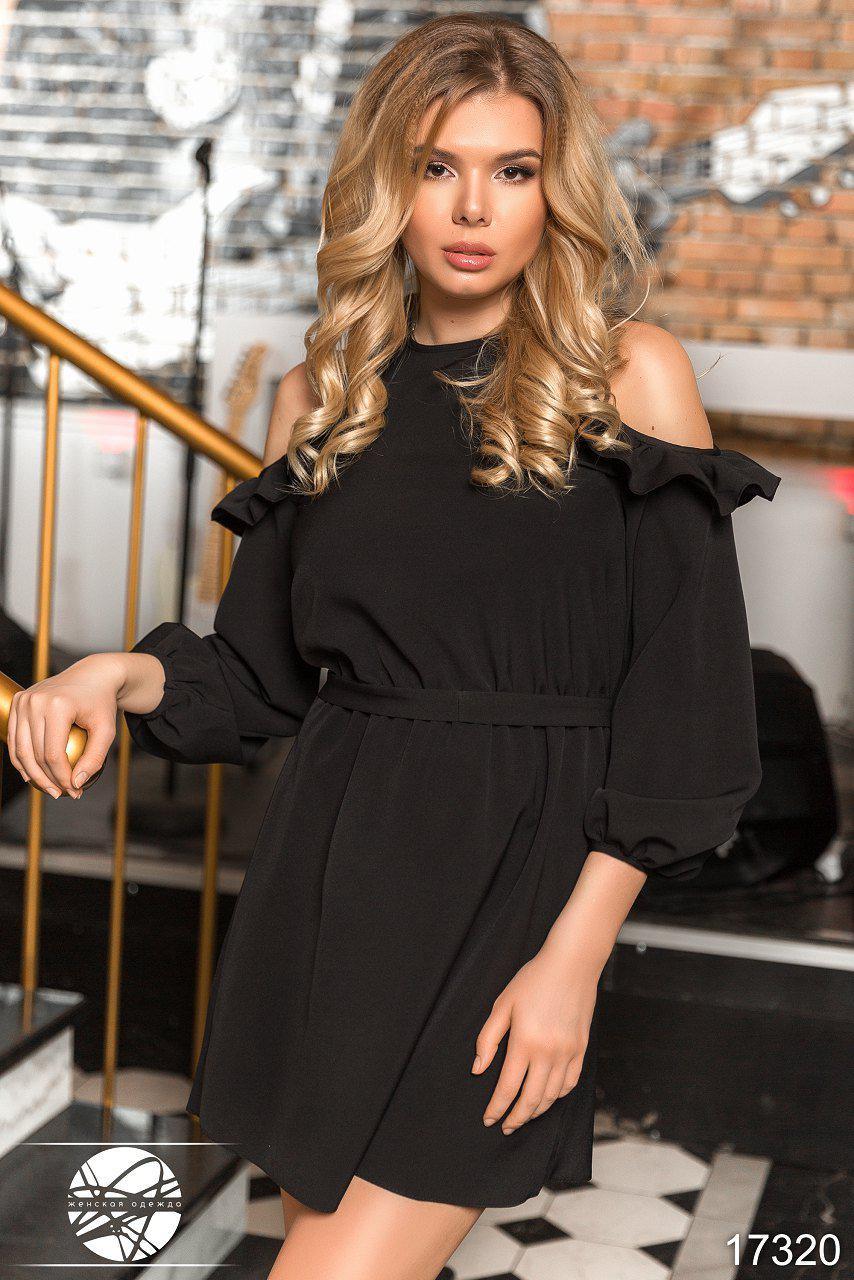 26b3e53e56cd42 Вечернее платье черного цвета с рюшами. Модель 17320. Размеры 42-46 - Irse