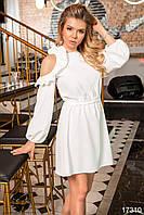 Вечернее платье белого цвета с рюшами. Модель 17310. Размеры 42-46