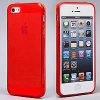 Чехол силиконовый HQ 0.3 мм с заглушками для iPhone 5/5S Red