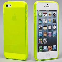 Чехол силиконовый HQ 0.3 мм с заглушками для iPhone 5/5S Acid Green