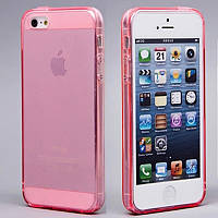 Чехол силиконовый HQ 0.3 мм с заглушками для iPhone 5/5S Pink