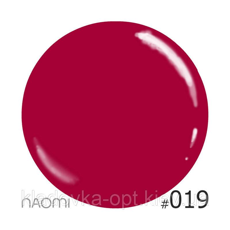 Декоративный лак Naomi  019 (бордово-малиновый), 12 мл