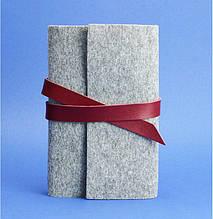 Фетровый женский блокнот (софт-бук) с кожаными бордовыми вставками