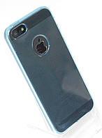 Чехол силиконовый HQ with Logo 0.3 мм с заглушками для iPhone 5/5S Blue