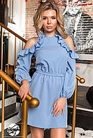 Вечернее платье голубого цвета с рюшами. Модель 17302. Размеры 42-46