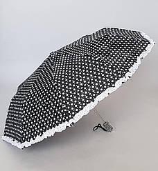 Зонт женский в горошек с рюшами полуавтомат