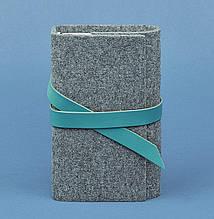 Фетровый женский блокнот (софт-бук) с кожаными бирюзовыми вставками