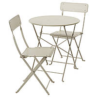 IKEA SALTHOLMEN Стол + 2 раскладных стула, снаружи, бежевый  (191.838.15)