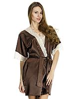 Шикарный женский халат с белым ажуром