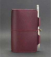 Женский кожаный блокнот софт-бук на резинке с держателем для ручки. Цвет бордовый