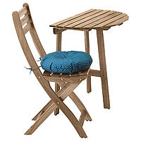IKEA ASKHOLMEN Пристенный стол + 1 раскладной стул, звонок, серо-коричневый, Ytterön (191.835.23)