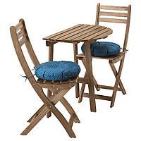 IKEA ASKHOLMEN Садовый стол и 2 раскладных стула, серо-коричневое серо-коричневое (091.835.28)