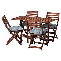 IKEA APPLARO Стол + 4 раскладных стула, сад, коричневое пятно, Ytterön blue  (091.835.71)