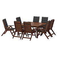IKEA APPLARO Стол + 8 мест, коричневое пятно, Hållö black  (891.569.55)