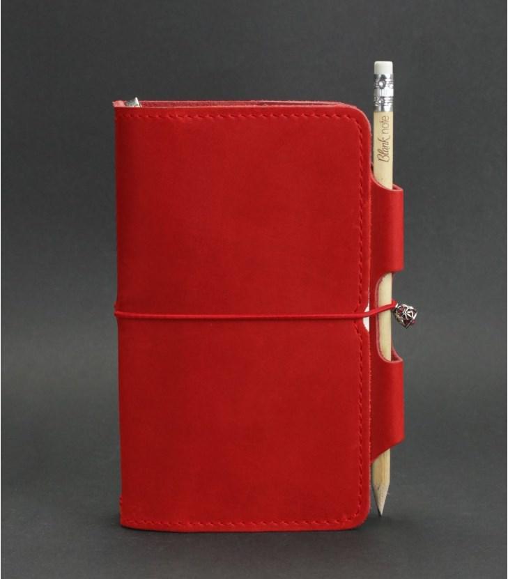 Женский кожаный блокнот мини (софт-бук) на резинке и держателем для ручки. Цвет коралл