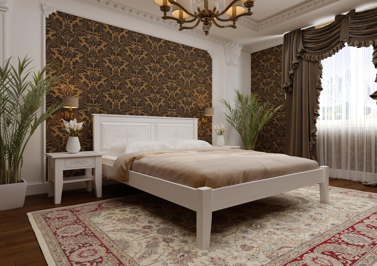 Ліжко двоспальне з натурального дерева в спальню Глорія (низьке узніжжя) ДОК