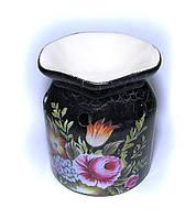 Аромалампа керамическая Цветы черная