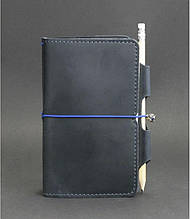 Кожаный блокнот мини (софт-бук) на резинке и с держателем для ручки