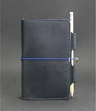 Шкіряний блокнот міні (софт-бук) на гумці і з тримачем для ручки
