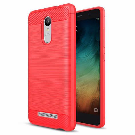 Чехол Carbon для Xiaomi Redmi Note 3 / Note 3 Pro бампер Red, фото 2