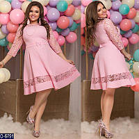 Нарядное однотонное расклешенное платье с кружевами эксклюзив Фабрика моды Украина большой размер 48-58