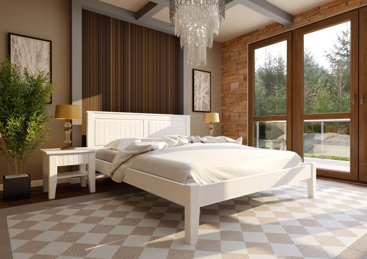 Ліжко півтораспальне з натурального дерева в спальню, дитячу Глорія (низьке узніжжя) ДОК