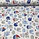 Хлопковая ткань польская ЛЮКС киты синие и кораблики красно-синие с волнами №86, фото 2