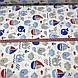 Хлопковая ткань польская ЛЮКС киты синие и кораблики красно-синие с волнами №86, фото 4