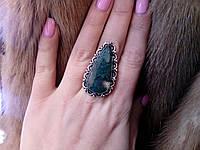 Крупное кольцо с моховым агатом. Кольцо с камнем моховый агат в серебре., фото 1