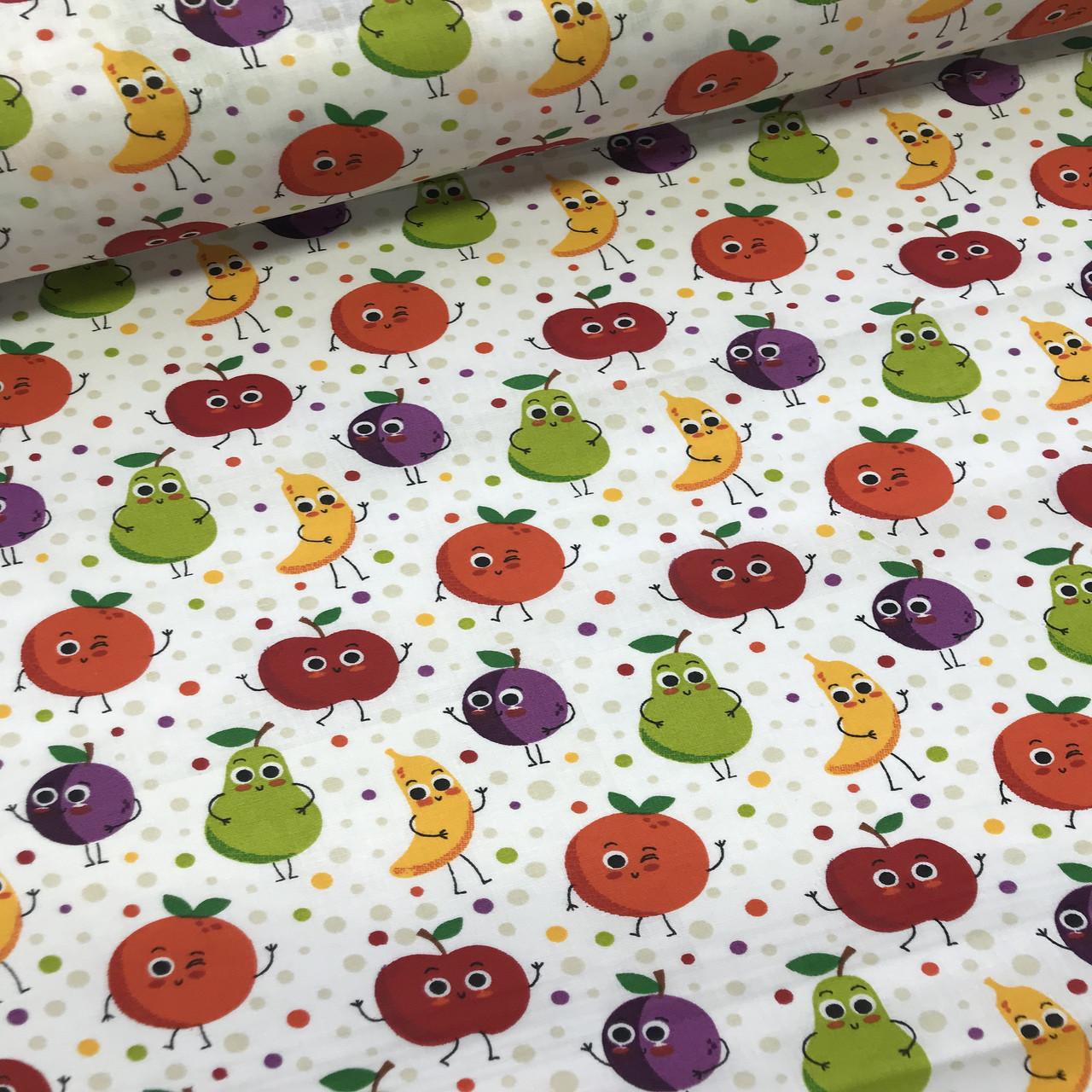 Хлопковая ткань польская фрукты и горошек разноцветные №85