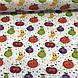 Хлопковая ткань польская фрукты и горошек разноцветные №85, фото 2