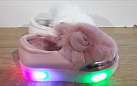 Модные туфли для девочек с ушками и мехом 2802/16