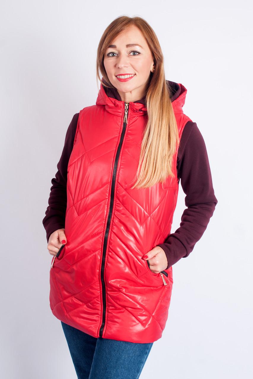 Женская безрукавка Зоя красная, большие размеры