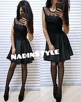 Платье элегантное стрейч сетка и кружево